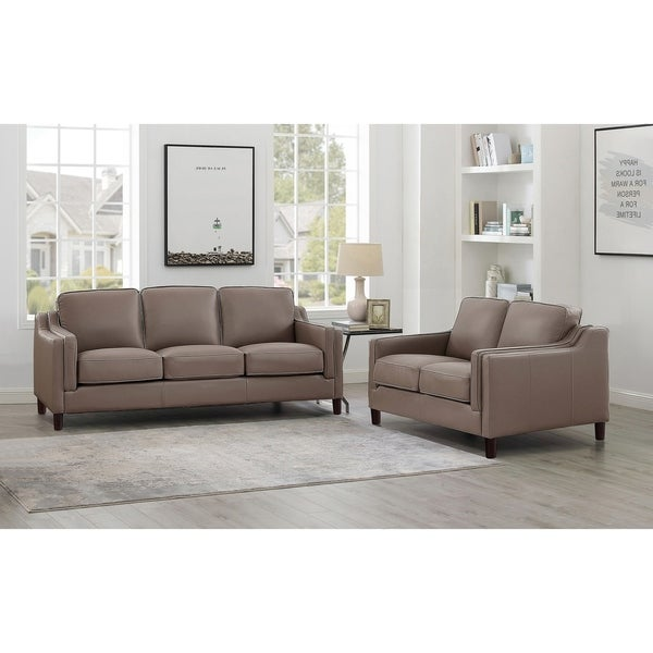 Shop Rafael Taupe Top Grain Leather Sofa And Loveseat Set Free