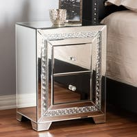 Glamour Style Mirrored 2-Drawer Nightstand by Baxton Studio