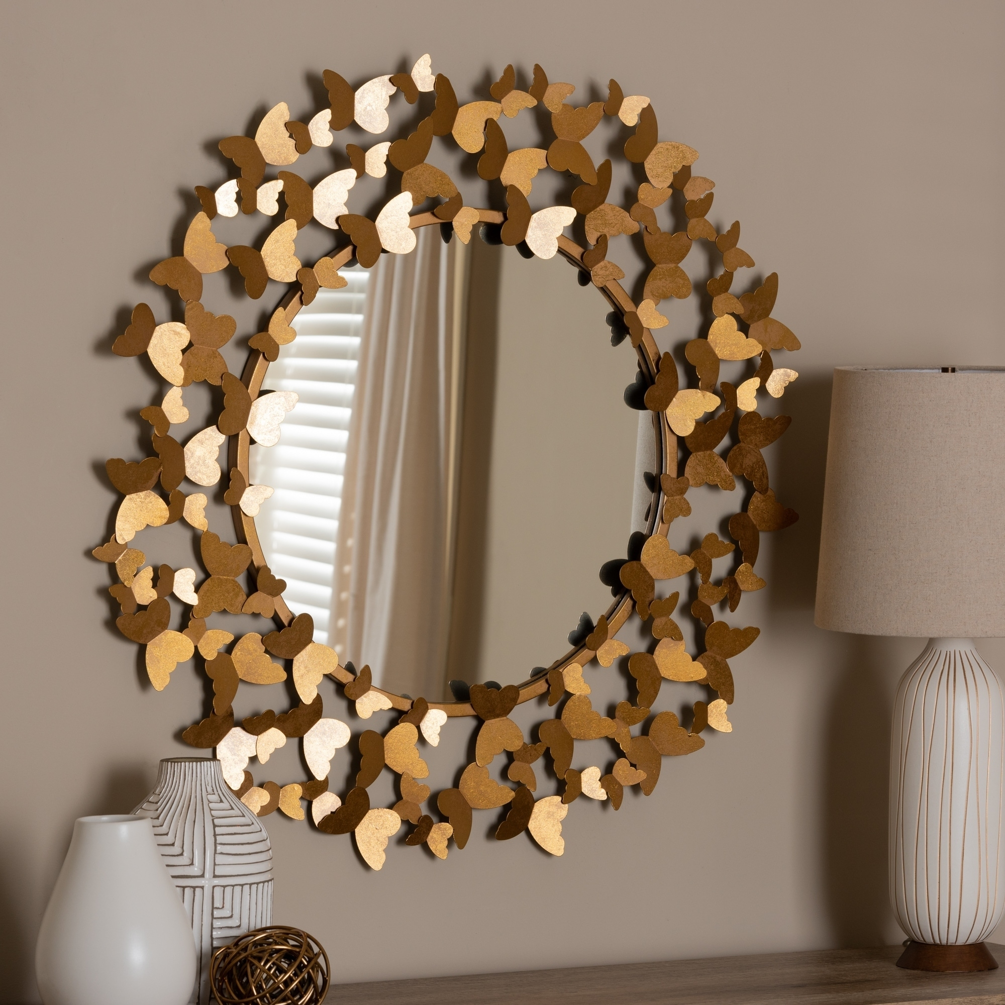 Shop Contemporary Antique Gold Butterfly Wall Mirror By Baxton Studio Antique Gold On Sale Overstock 24081622