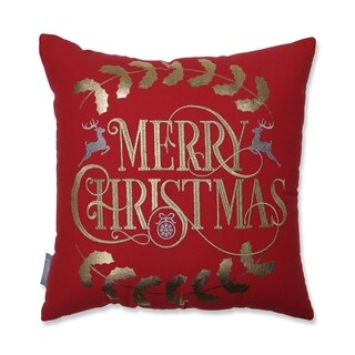 Merry Christmas 18-inch Throw Pillow Red/Gold