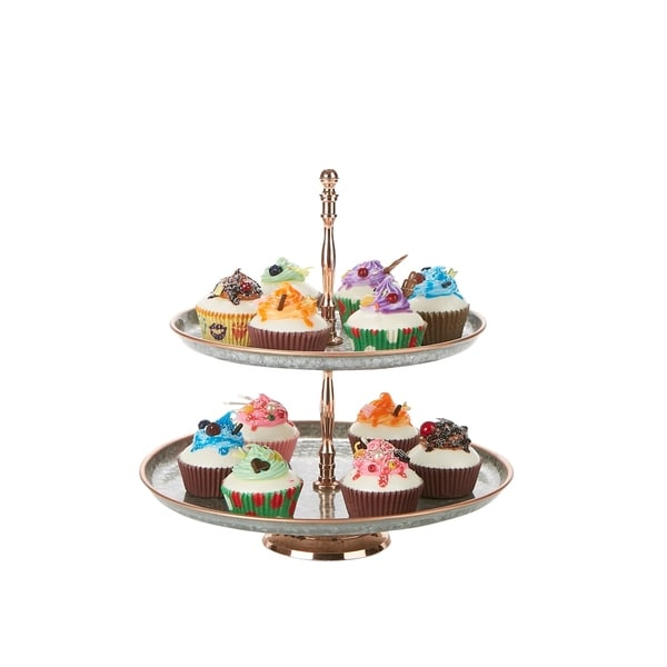 fb82897421384 Mind Reader Brass & Iron 2 Tier Pastry Stand, Party Pastry Display,  Cupcake