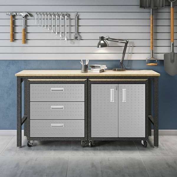 3-Piece Fortress Mobile Space-Saving Steel Garage Cabinet and Worktable 3.0 in Grey