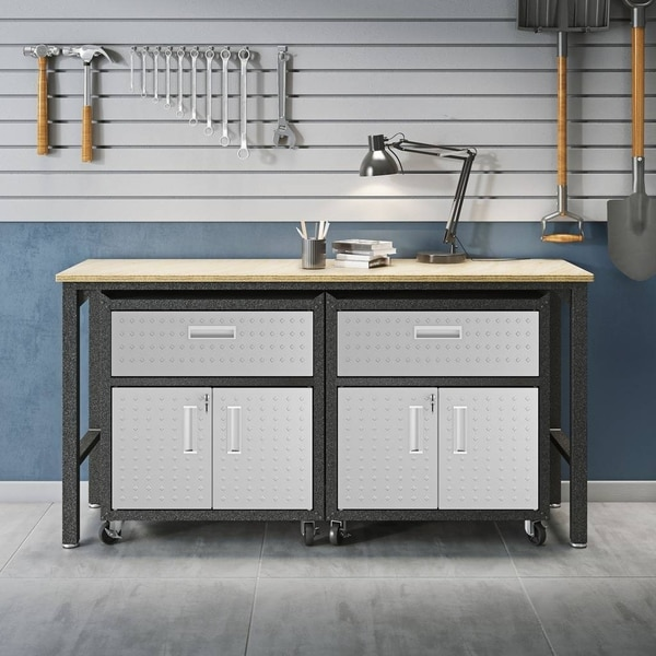 3-Piece Fortress Mobile Space-Saving Steel Garage Cabinet and Worktable 4.0 in Grey. Opens flyout.