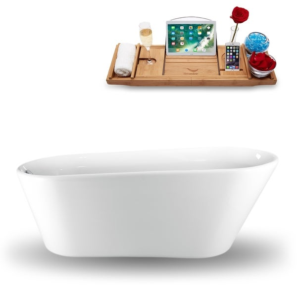 "61"" Streamline N-1520-61FSWH-FM Freestanding Tub and Tray With Internal Drain"