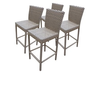 TK Classics Florence/Monterey/Oasis Wicker Barstools with Back - Set of 4