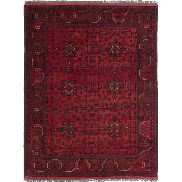 ECARPETGALLERY Hand-knotted Finest Khal Mohammadi Red Wool Rug - 4'10 x 6'6