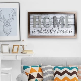 Patton Wall Decor Home is Where the Heart is Metal and Wood Plank Wall Art Décor - Grey