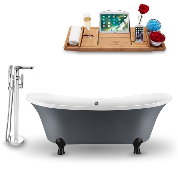 """Tub, Faucet and Tray Set Streamline 68"""" Clawfoot NH921BL-CH-120"""