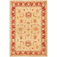 ECARPETGALLERY  Hand-knotted Chobi Finest Ivory Wool Rug - 6'0 x 8'7