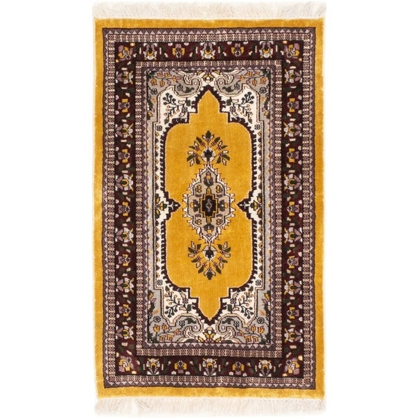 ECARPETGALLERY Hand-knotted Kashmir Gold Silk Rug - 2'6 x 4'2