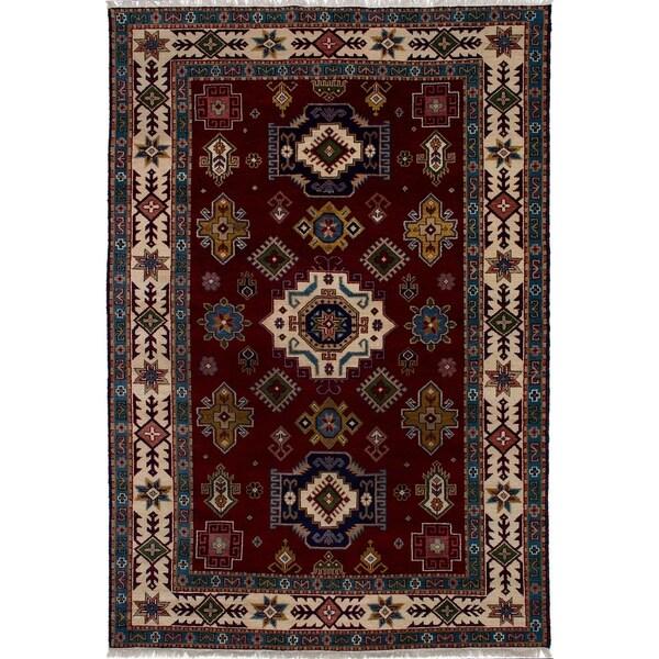 ECARPETGALLERY Hand-knotted Royal Kazak Dark Red Wool Rug - 6'8 x 9'8