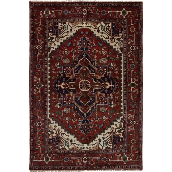 ECARPETGALLERY Hand-knotted Serapi Heritage Dark Red Wool Rug - 6'0 x 9'0