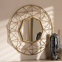 Contemporary Gold Geometric Wall Mirror by Baxton Studio