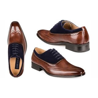 Gino Vitale Men's Two Tone Wing Tip Dress Shoes