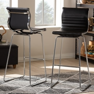 Contemporary Black Counter Stool 2-Piece Set by Baxton Studio