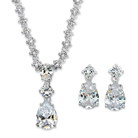 Silver Tone Pear Shaped Drop Necklace & Earring Set Cubic Zirconia - White