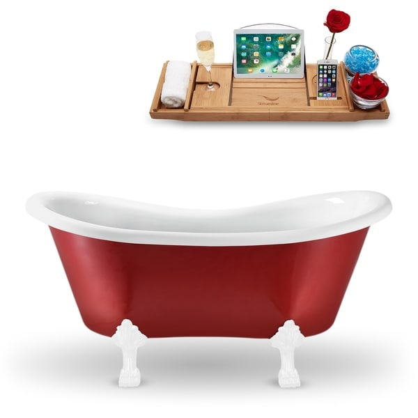 """62"""" Streamline N1021WH Clawfoot Tub and Tray With External Drain"""