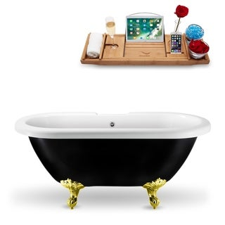 "59"" Streamline N1120GLD-CH Clawfoot Tub and Tray With External Drain"