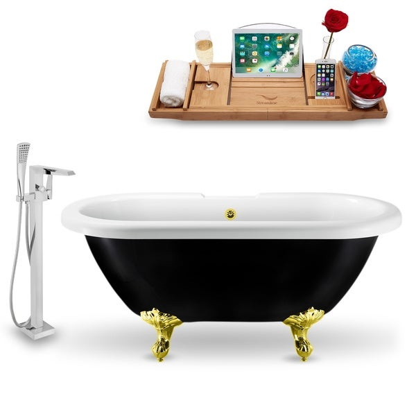 """Tub, Faucet and Tray Set Streamline 59"""" Clawfoot NH1120GLD-GLD-100"""