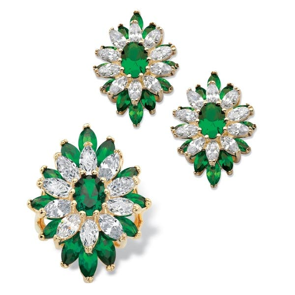 Green earring and ring set