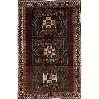 ECARPETGALLERY  Hand-knotted Antique Shiravan Dark Burgundy Wool Rug - 5'10 x 9'11
