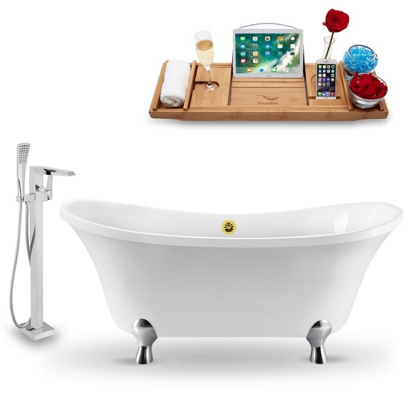 """Tub, Faucet and Tray Set Streamline 60"""" Clawfoot NH920CH-GLD-100"""