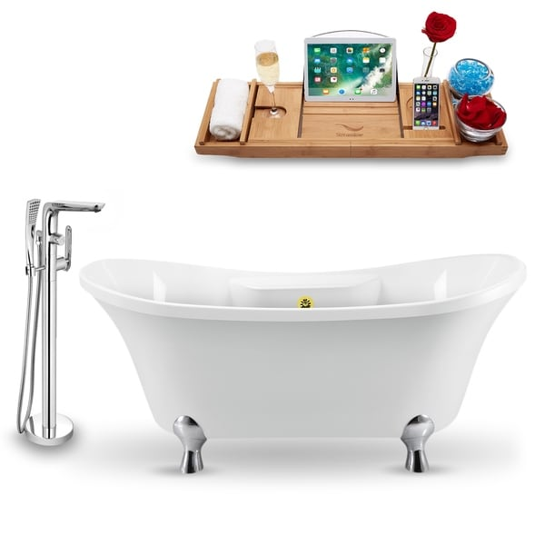 """Tub, Faucet and Tray Set Streamline 68"""" Clawfoot NH901CH-GLD-120"""