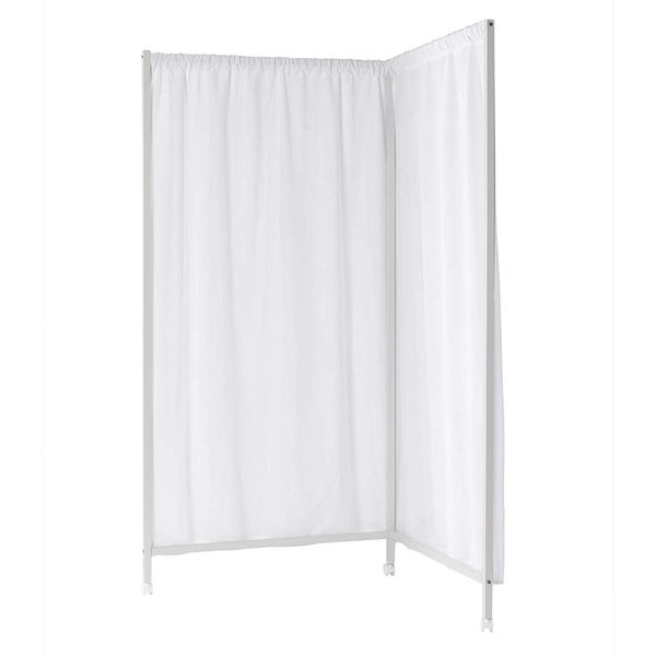 Don't Look At Me - L-Shaped Room Divider - White Frame with White Fabric