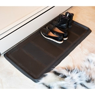 "DirtOff Zigzag Design Multi-purpose Black Rubber Boot Tray Doormat - 16"" x 32"""