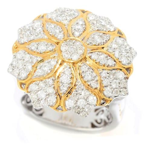 Michael Valitutti Palladium Silver Diamond Flower Dome Ring