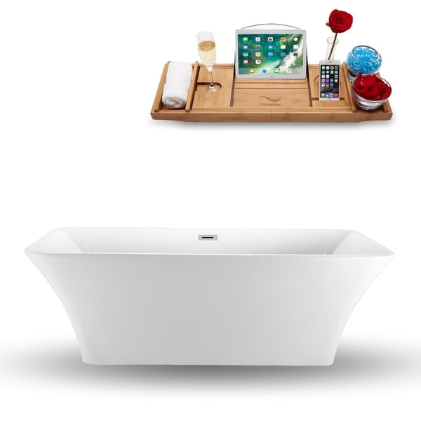 "71"" Streamline N-1000-71FSWH-FM Freestanding Tub and Tray With Internal Drain"