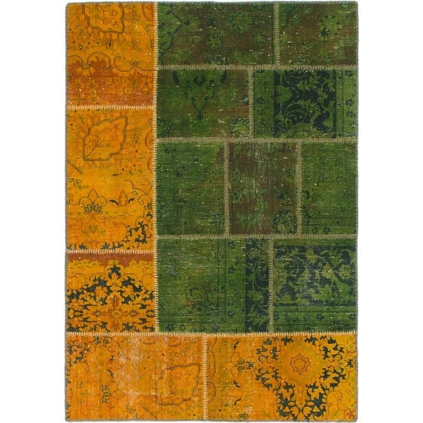 Hand Knotted Ultra Vintage Wool Area Rug - Multi - 4' x 5' 8