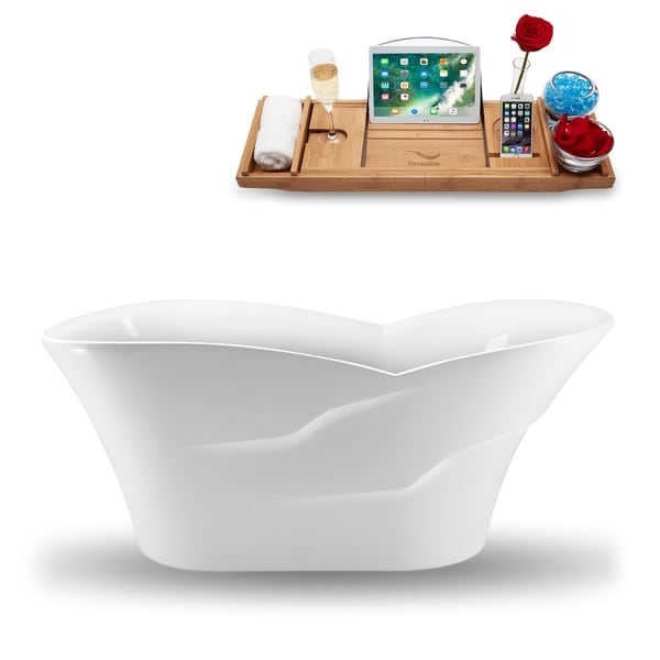 "70"" Streamline N-1280-67FSWH-FM Freestanding Tub and Tray With Internal Drain"