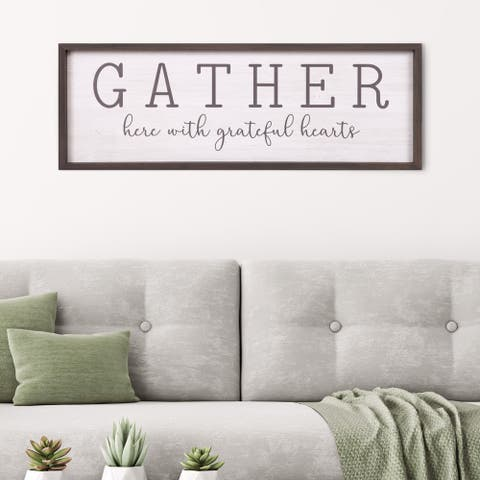 Patton Wall Decor Gather With Grateful Hearts Rustic Wood Framed Wall Art Décor, 12x36 - White