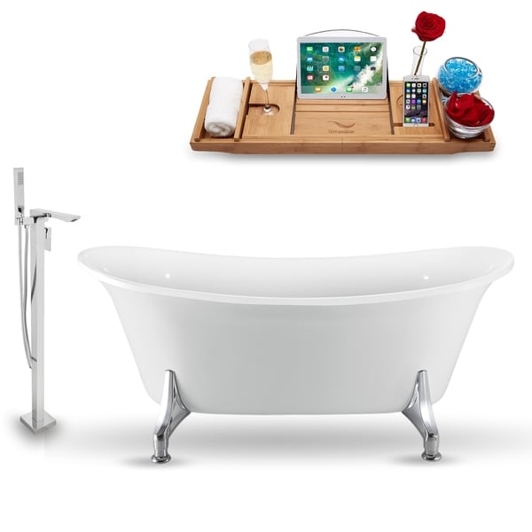 """Tub, Faucet and Tray Set Streamline 70"""" Clawfoot NH1081CH-140"""