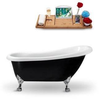 "61"" Streamline N481CH Clawfoot Tub and Tray With External Drain"