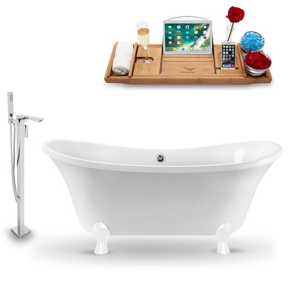 """Tub, Faucet and Tray Set Streamline 60"""" Clawfoot NH920WH-CH-140"""