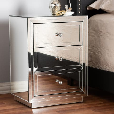 Glamour Style Mirrored 3-Drawer Nightstand by Baxton Studio