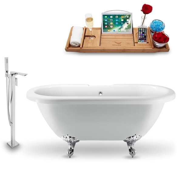 """Tub, Faucet and Tray Set Streamline 70"""" Clawfoot NH1121CH-CH-140"""
