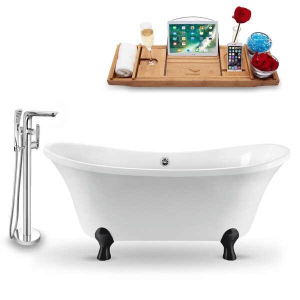 """Tub, Faucet and Tray Set Streamline 60"""" Clawfoot NH920BL-CH-120"""