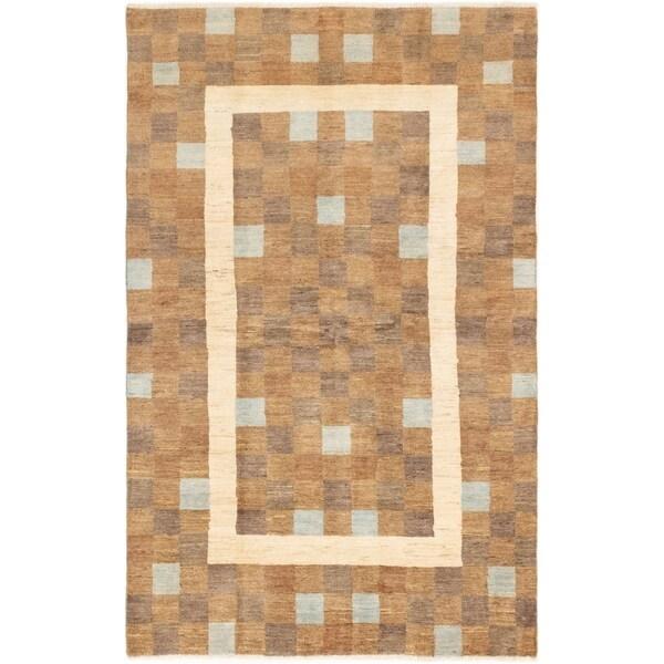 ECARPETGALLERY Hand-knotted Ziegler Chobi Brown Wool Rug - 5'1 x 8'2