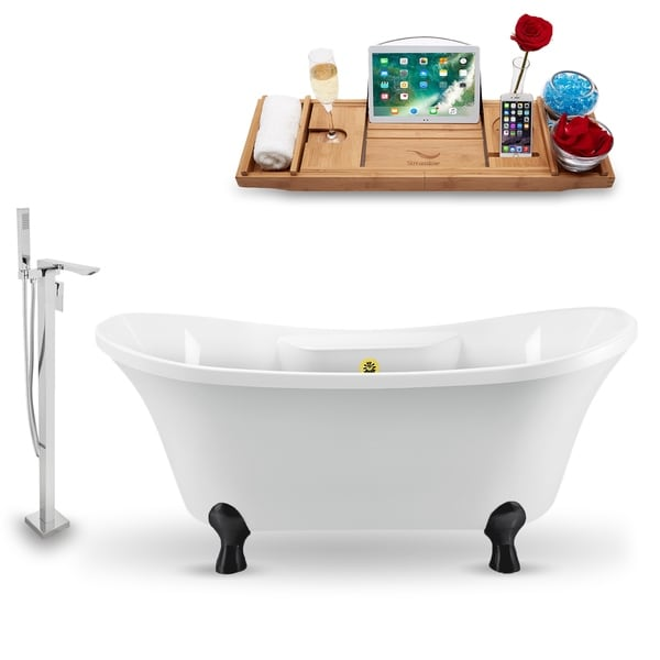 """Tub, Faucet and Tray Set Streamline 60"""" Clawfoot NH900BL-GLD-140"""