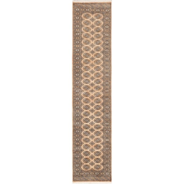 ECARPETGALLERY Hand-knotted Finest Peshawar Bokhara Tan Wool Rug - 2'7 x 11'10