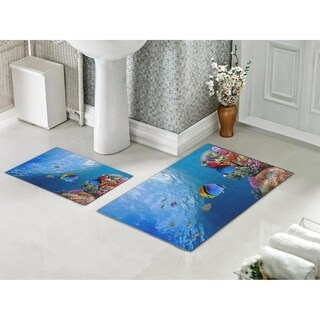 Decorotika 2 Piece Bathroom and Shower Mat - Non-Slip Backing - Aqua - 24 x 36