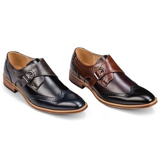 Gino Vitale Men's Three Tone Monk Strap Dress Shoes