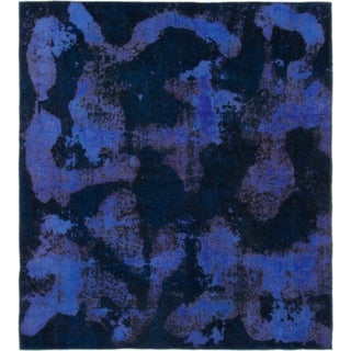 Hand Knotted Ultra Vintage Wool Square Rug - 5' 8 x 6' 3