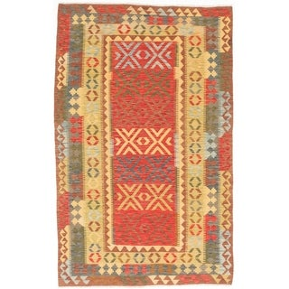 ECARPETGALLERY Flat-weave Kashkoli FW Dark Burgundy, Light Gold Wool Kilim - 5'1 x 8'3