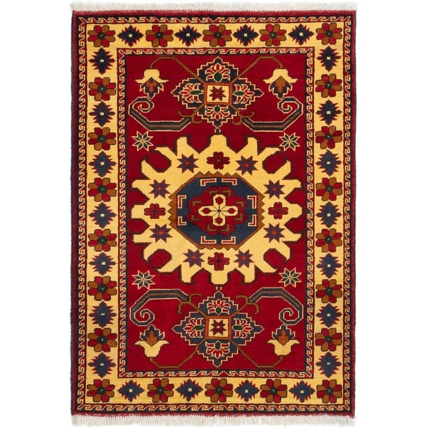 ECARPETGALLERY Hand-knotted Finest Kargahi Red Wool Rug - 3'3 x 4'8