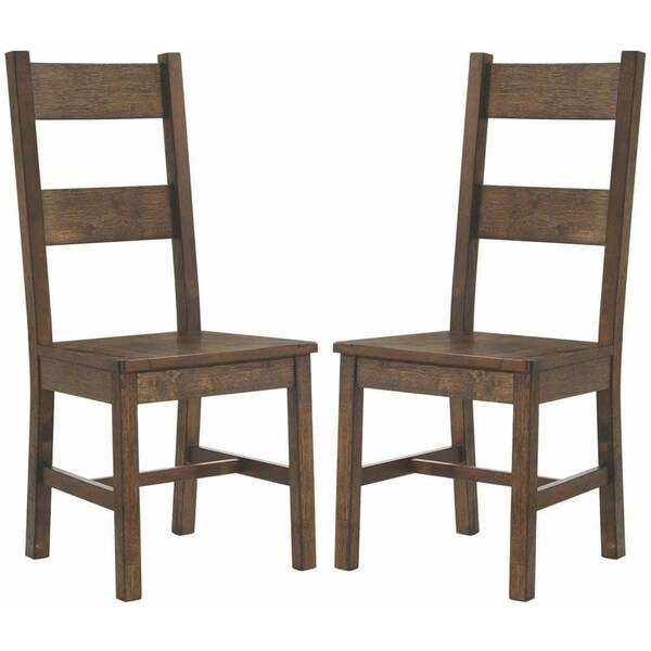 Rustic Bold Design Knotty Wood Dining Chairs (Set of 2)