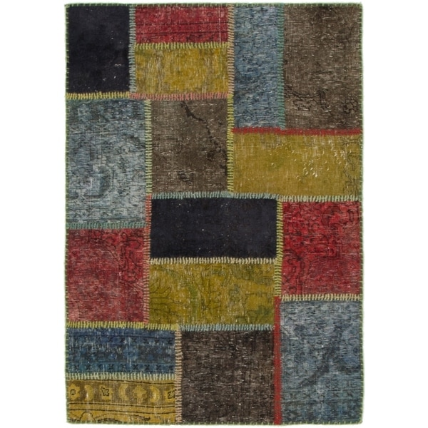 Hand Knotted Ultra Vintage Wool Area Rug - Multi - 3' x 4' 3